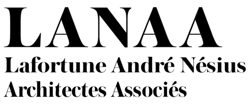 LANAA : Julie Lafortune, Nicolas André, Matthias Nésius. Architecte Associés. Logo